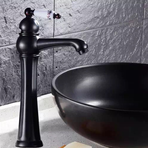 ФОТО Black bronze ceramic high tap Bathroom antique black brass tap bathroom faucet Basin tap mixer single handle antique faucet