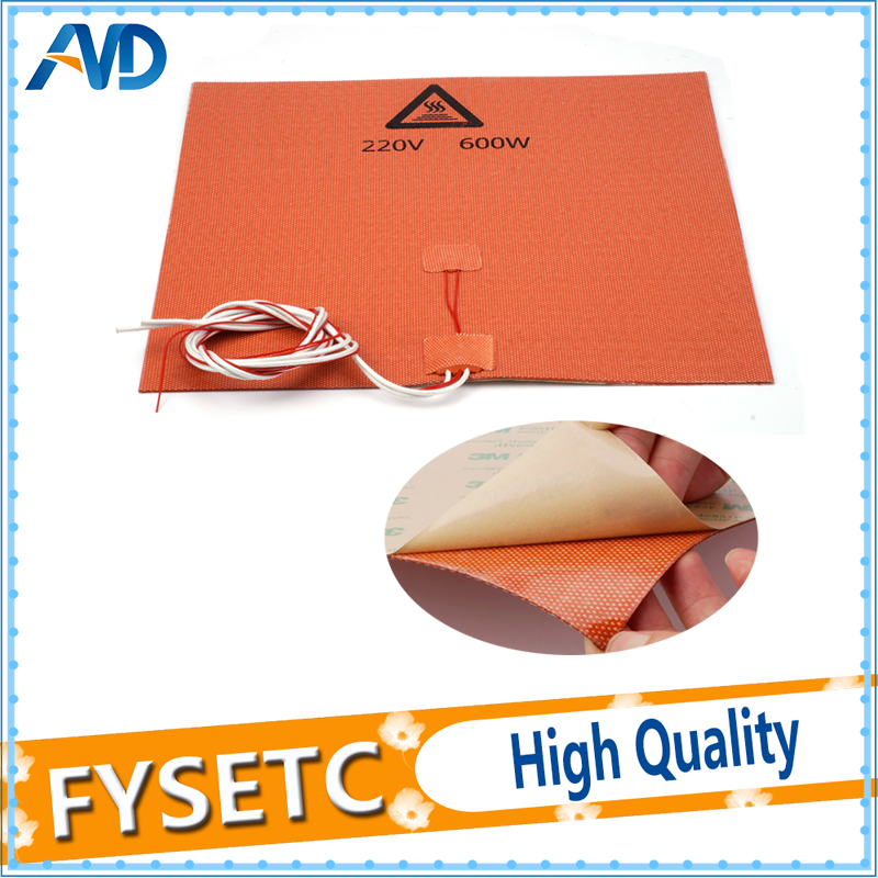 300X300mm Silicone Heater 3D Printer Heater Heatbed 220V 600W NTC 100K Thermistor 3M Adhesive For TEVO