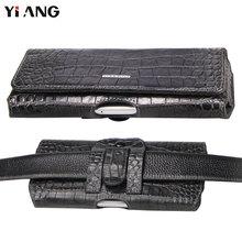 Vidukļa soma vīriešiem YIANG zīmols īstas ādas govs ādas jostas krokodila modelis dizains luksusa jostas soma ādas jostas maisiņš