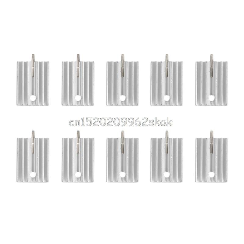 10 gab TO-220 alumīnija dzesēšanas šķidruma tranzistora dzesētāja dzesētāja dzesēšana 21MM # H029 #
