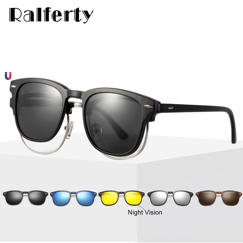 Ralferty Ultra-light TR90 Magnetic Clip On Sunglasses Men Women Polarized UV400 Sunglases Prescription Eyewear Frame With Case