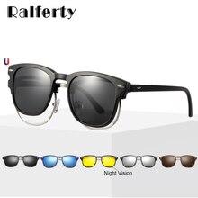 Ralferty ยืดหยุ่น 5 In 1 คลิปบนแว่นตากันแดดผู้ชายผู้หญิง Polarized UV400 Sunglases แว่นตากรอบไม่มี Diopter