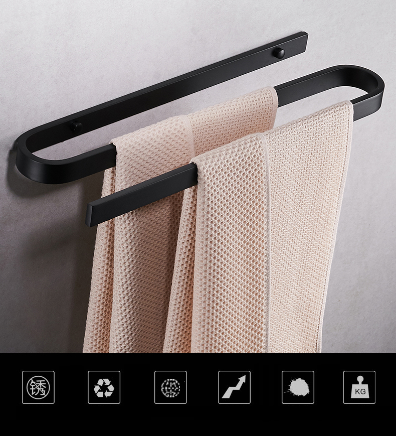 Wall Mounted Towel Rack Holder Aluminum Towel Shelf Bathroom Towel Rack Holder Dual Towel Hangers Bars стоимость