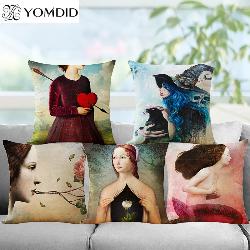 Girl Series Cushion Cover 12 Kinds Colorful Cotton Linen Throw PillowCase Cafe Home Office sofa car Decor Pillows cover
