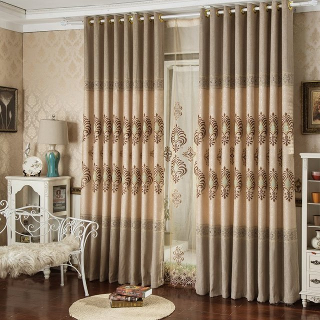 european style curtains embroidered curtains modern living room
