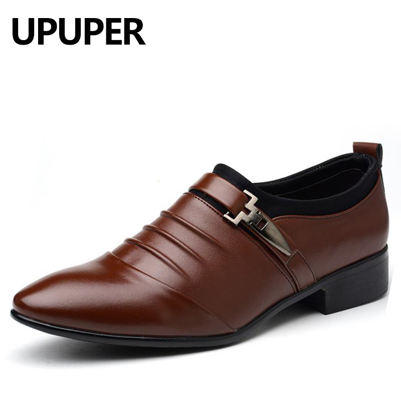 Big Size 38-48 Mens Dress Shoes PU Leather Pointed Toe Oxfords Shoes For Men Cheap Flat Slip-on Business Wedding Shoes Men 2018 mens genuine leather oxfords shoes pointed toe male dress wedding oxfords shoes slip on italian leather oxfords for men