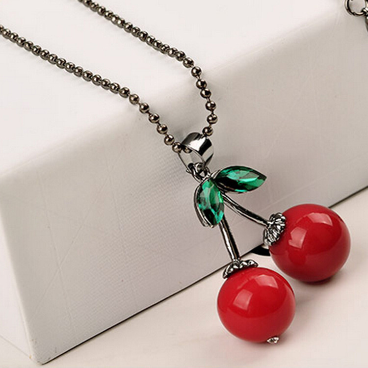 Hot New 2017 Anime Boho Exo Girl Bijoux Collier Maxi Leaf Red Cherry Necklace Pendants For Women Choker Colar Girl Jewelry