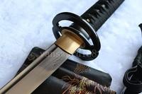 A Free stand + A sword hand forge damascus folded steel japanese samurai real sword katana copper tsuba