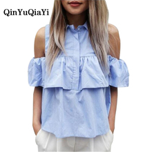 2017 Summer Women Casual Cold Shoulder Ruffles Blouse Shirts Turn Down Blue Casual Sexy Tops Chemise Femme Blusas Ladies