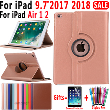 360 Degree Rotating 가죽 Smart Cover Case 대 한 Apple iPad Air 1 Air 2 5 6 New iPad 9.7 2017 2018 5th 6th Generation Coque 펀다(China)