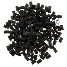 Pack of 200Pcs Heat Shrinkable Micro Link Rings 6mm Glue Lined Tubes for I-tip Hair Extensions Tool Black(China)