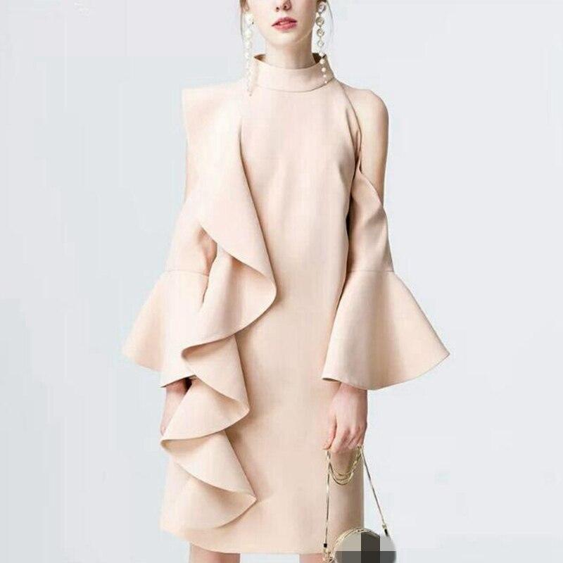 2018 Весна Женское вечернее платье пикантные открытыми плечами взлетно-посадочной полосы Платья для женщин