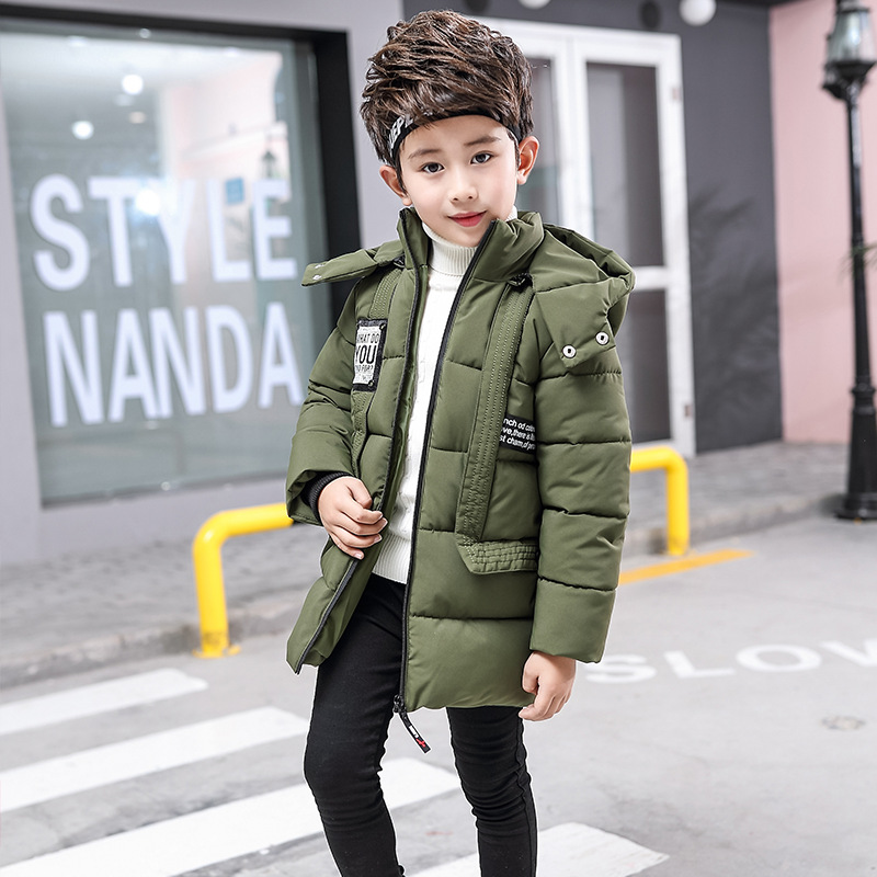 Winter Hooded Thick Cotton-Padded Boy Long Coat Childrens Jacket For Boys Coat Solid Parka Kid Clothes Outwears H228 winter jacket men warm coat mens casual hooded cotton jackets brand new handsome outwear padded parka plus size xxxl y1105 142f