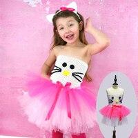 White And Hot Pink Girl Kitty Design Costume Tutu Dress Children Clothing Summer Kids Girl Party