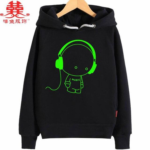 Xiyu бренд мальчиков толстовка для маленьких девочек из махровой ткани толстые теплые куртки Noctilucence световой с капюшоном детская одежда ночь светит спортивные