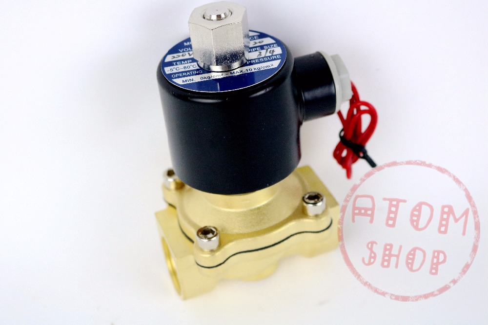 3/4 Inch Brass Electric Solenoid Valve Water Air Fuels N/C 2W-200-20 DC12V 24V AC110V 220V ok printio the elder scrolls v skyrim