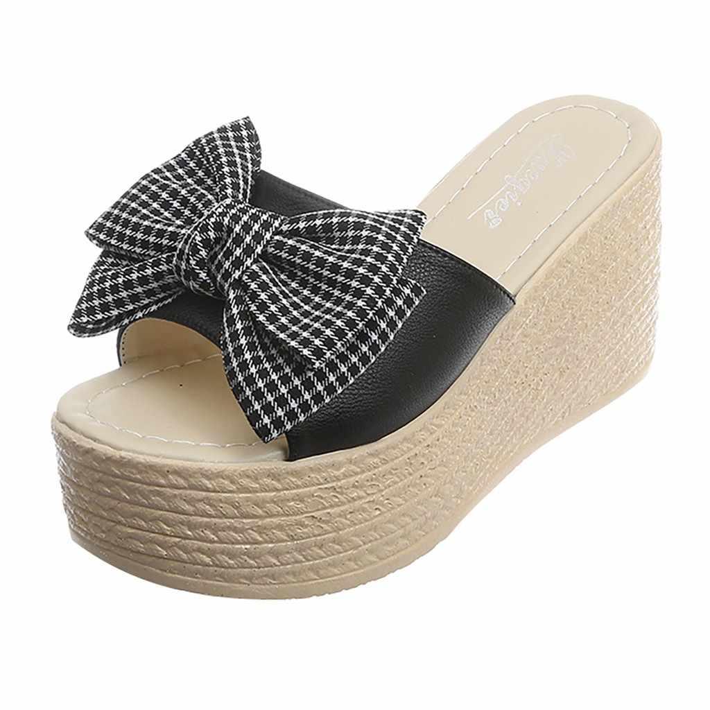SAGACE-ลายสก๊อตผู้หญิงรองเท้าแตะผู้หญิง 2019 ฤดูร้อนใหม่รองเท้าแตะรองเท้าแตะกลางแจ้งรองเท้าชายหาดรองเท้าแฟชั่นผู้หญิง May30
