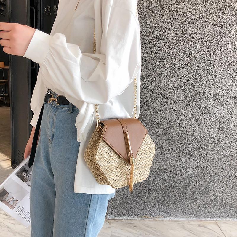 Hexagon Mulit Style Straw+leather Handbag Women Summer Rattan Bag Handmade Woven Beach Circle Bohemia Shoulder Bag New Fashion 14