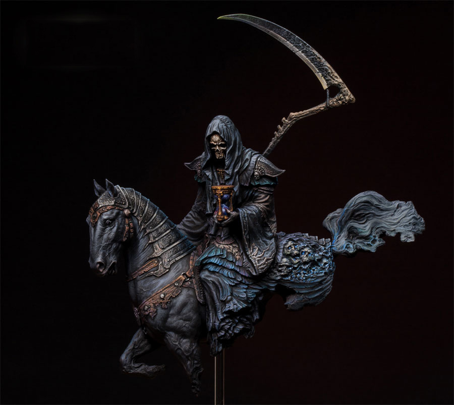 Assembly Unpainted Scale 1 20 90mm the warrior with horse soldier figure Historical WWII Resin Model