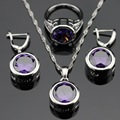 Silver Color Jewelry Sets For Women Created Round Purple Amethyst  Pendant Necklace Earrings Rings Christmas  Free Gift Box