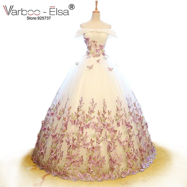 varboo_elsa 2018 vestido de novia de tul blanco 3d mariposa aplique