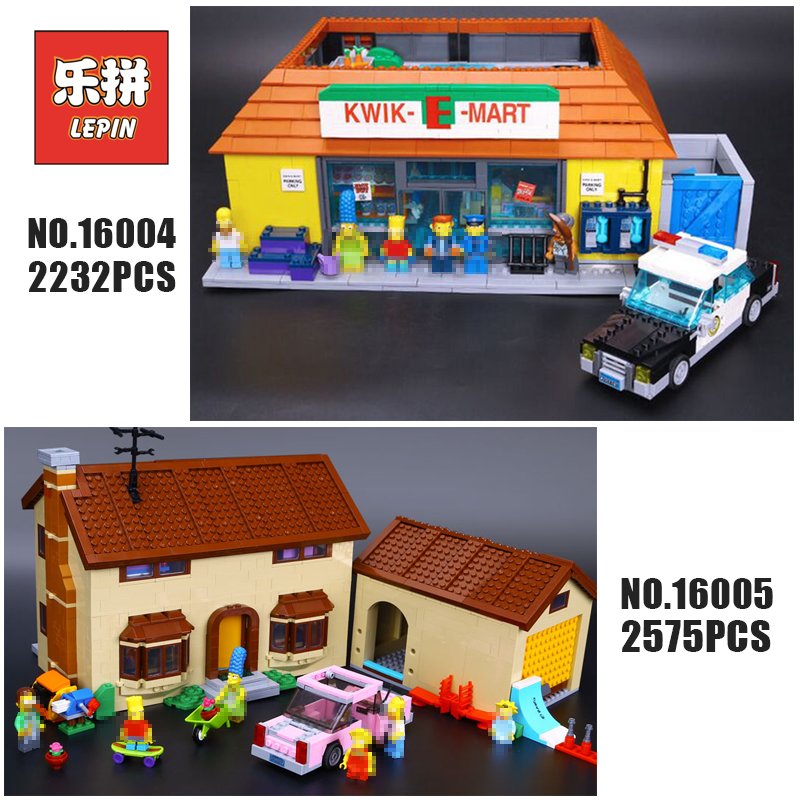 цена на Lepin Movie 16004 16005 The Simpsons House Bart Homer the Kwik-E-Mart Set Building Blocks Bricks Compatible 71006 71016 Toy