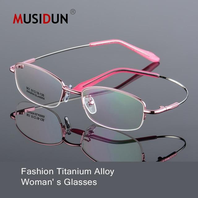 8d4c36326238 Titanium Alloy Optical Eyeglasses Woman Ultra Light Weight Myopia glasses  Frames female Half frame Eyewear Spectacles Q143