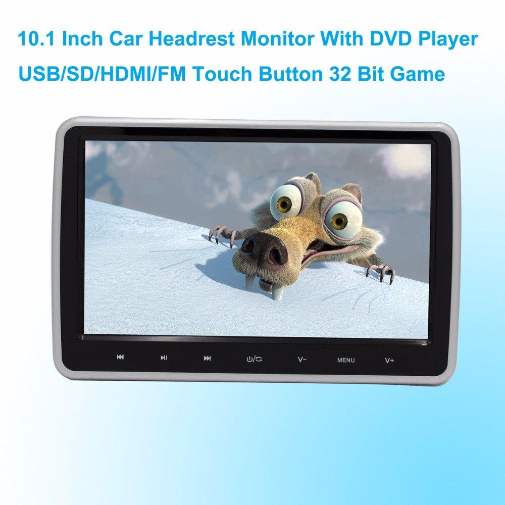 imágenes para Coches Reproductor de DVD Reposacabezas Monitor de 10.1 Pulgadas 1024*600 LCD Monitor de Reposacabezas Reproductor de DVD USB/SD/HDMI/FM Juego Botón Táctil