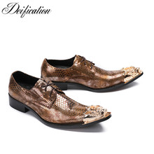 Deification New Stylish Print Snakeskin Men Leather Shoes Zapatos Hombre Vestir Pointy Toe Formal Party Dress shoes Casual Flats