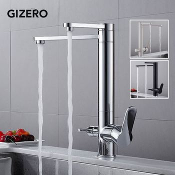 New Kitchen Faucet Chrome Water Purification Dual Spout Cold Hot Kitchen Filter Water Tap Dual Handle Deck Mounted ZR722
