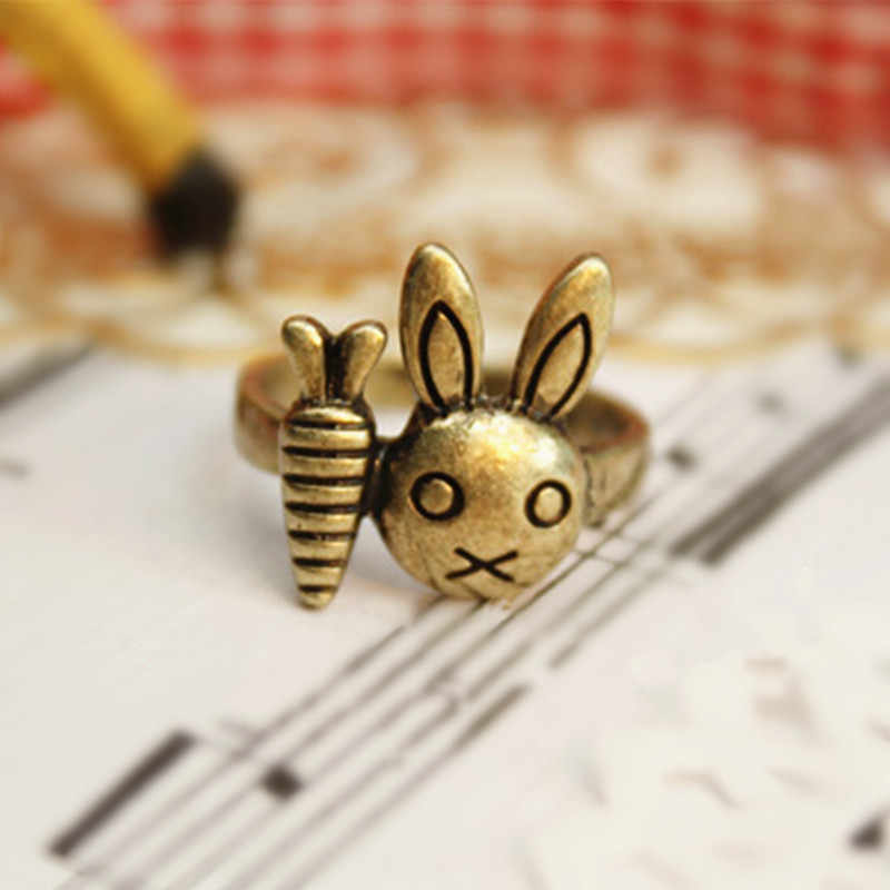 Vintage Cute Rabbit With Carrot Ring Beautiful  animal Finger Rings For Women men Children Jewellery birthday gift