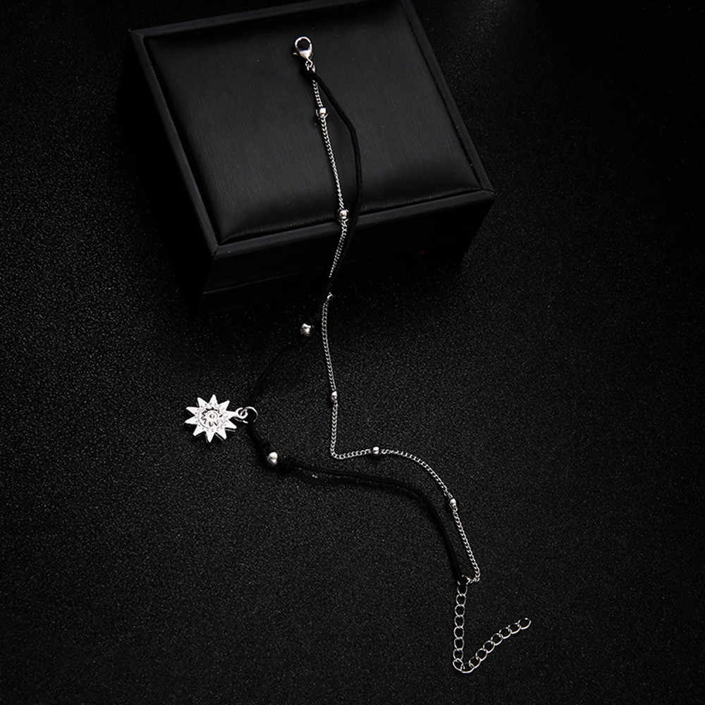 Двойной цепи солнца ножной браслет ювелирные изделия пляжные разделе Браслеты Бусы Бохо стопы Готический Bo Банкетный ботильоны браслет для прохождения вечерние # T