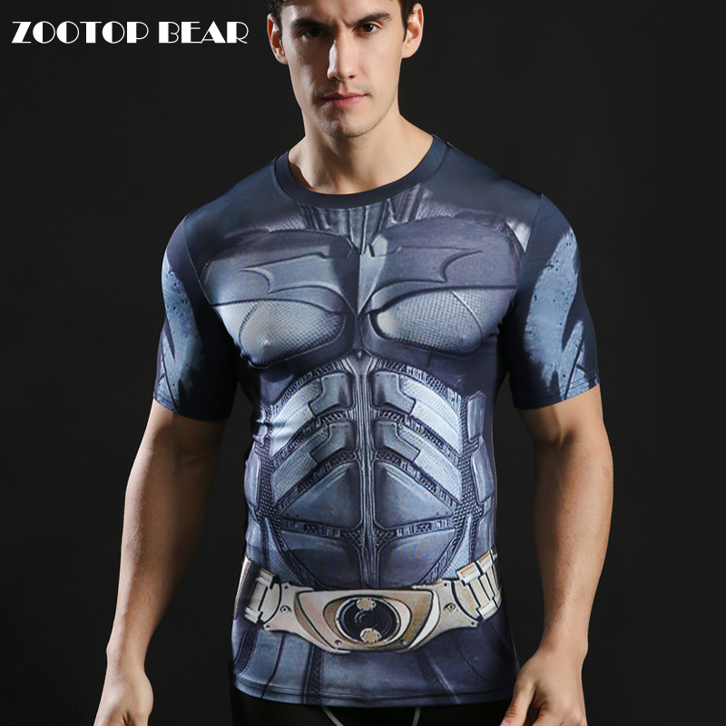 3D Printed Tops Batman Men Tshirts Compression Novelty Short Sleeve T-shirts High Quality Tees 2017 Fitness Camiseta ZOOTOP BEAR