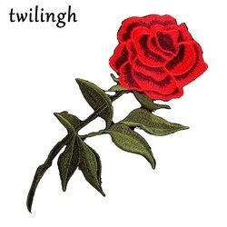 1 Pcs Patches Top Fer-sur Coudre-sur Rouge Rose Fleur Broderie Patch Motif Applique Enfants Femmes DIY vêtements Autocollant De Mariage