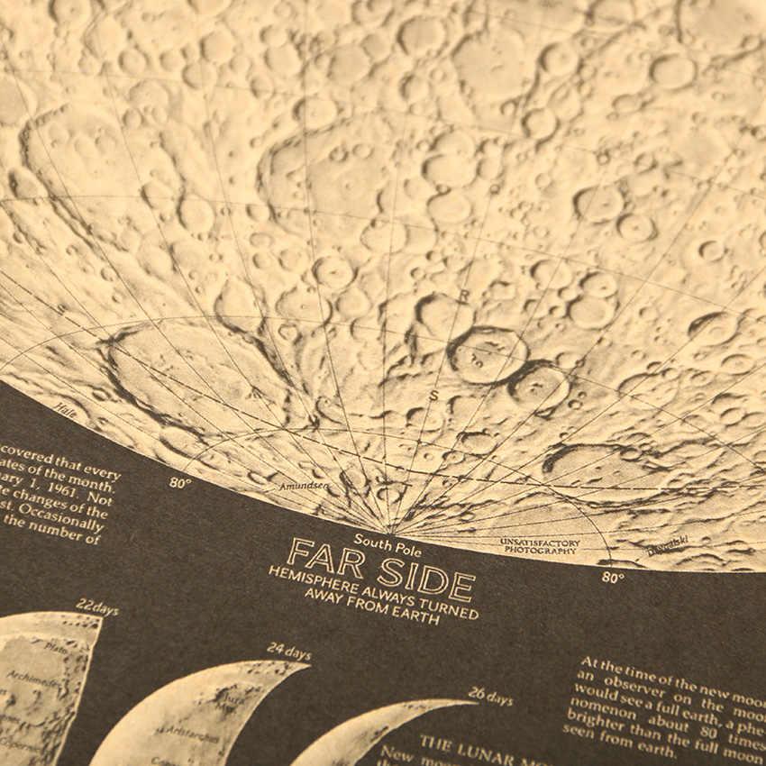 1 chiếc Vintage Poster Quả Cầu Bản Đồ Thế Giới Mặt Trăng Âm Bản Đồ Giấy Dán Tường Dán Nền Nghệ Thuật Áp Phích