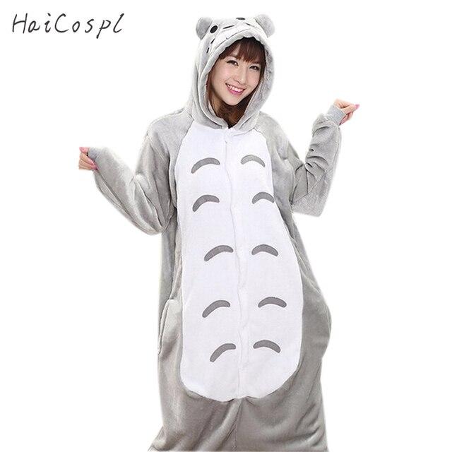 Кигуруми Тоторо Onesie для женщин аниме косплэй костюм милый кот зима  фланель теплый для взрослых животных aa517e148b154