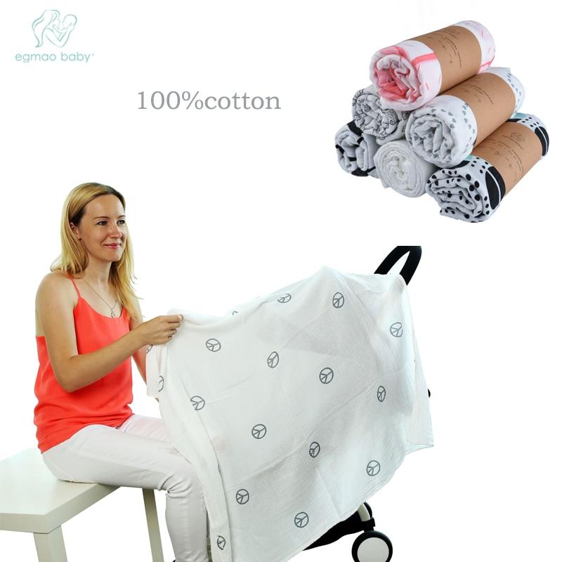 EGMAOBABY Single Layers 95% Cotton 5% Spandex Gauze Newborn Supplies 1cm Broad Edge Baby Swaddle Child Dream Blanket 120X120cm