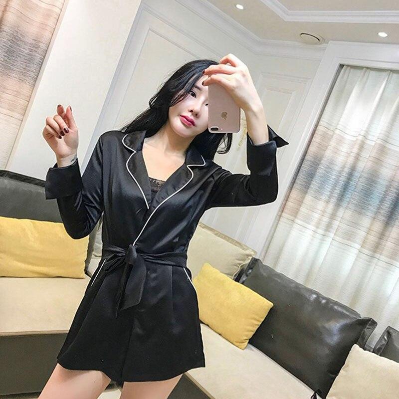 wide leg shorts jumpsuit Women Spring 2018 new Casual pants female Korean temperament suit collar long sleeves sleepwear