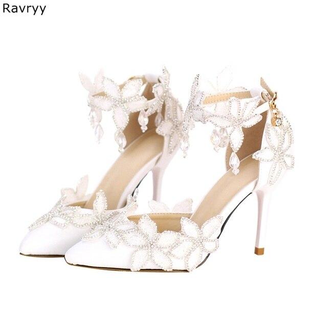 752c1f03e5 US $49.68 10% OFF|Woman's high heels beautiful flower wedding sandals  twinkling crystal female white dress shoe pointed toe stilettos single  shoe-in ...
