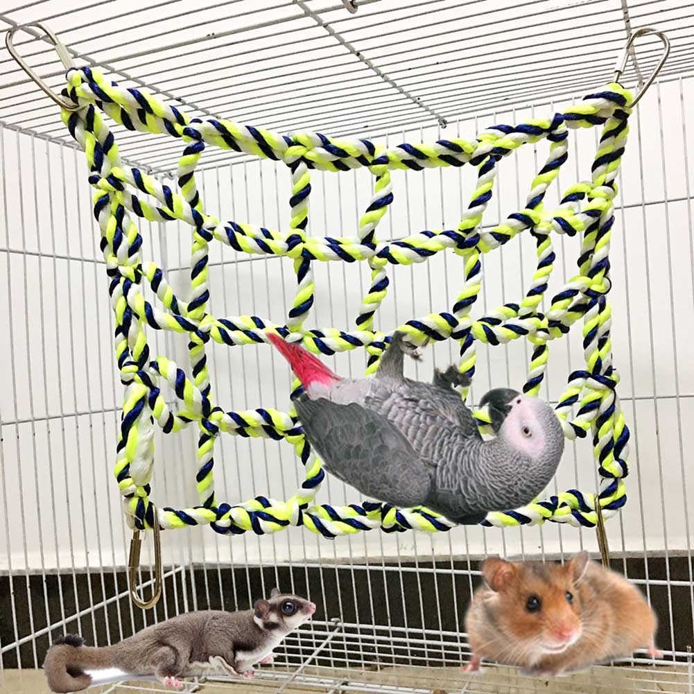Newly Parrot Climbing Ladder Cotton Rope Net Cage Hanging Pet Activity Toy For Hamster Ferret Small Animal
