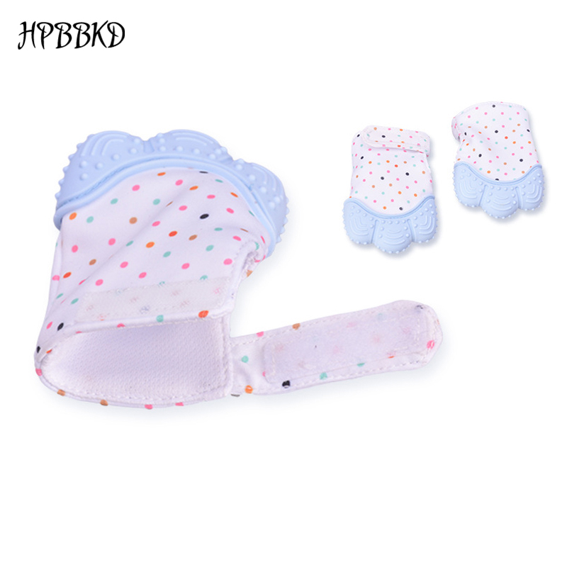 1Pc Silicone Baby Glove Teether Sound Teething Chewable Infant Nursing Mitten