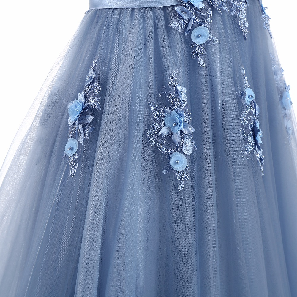 Elie Saab Blue Evening Dresses 2018 Plus Size Tulle Appliques Long Formal Dresses Gowns V Neck Lace Up Sleeveless Robe De Soiree 7