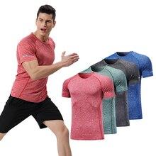 Mens T-Shirts gym shirt  fitness dry fit running mens sportswear men sport man