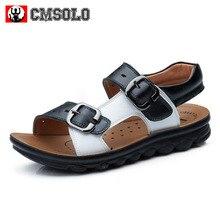 CMSOLO Sandals For Boys Buckle Children's Sandal Baby Boy Leather Flat 3 Color Soft Comfort Non-slip Bench Shoes Sandals For Kid