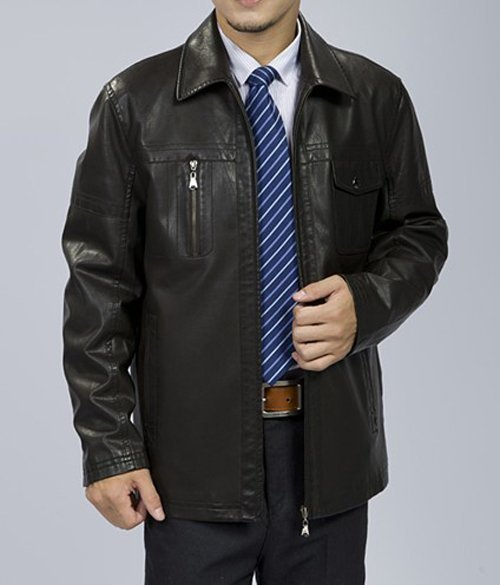 2012 Autumn and winter men's short leather jacket business casual lapel faux sheep skin jacket free Shipping GLM002