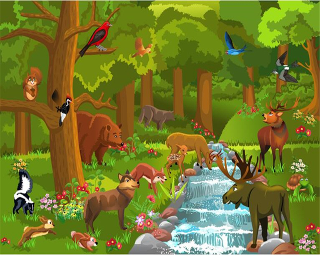beibehang Custom cartoon forest green eye vector children ...