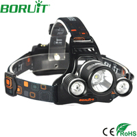 High Quality Adjustable 3000 Lumens 4 Modes Rechargeable 3 LED T6 2R5 Waterproof Headlight 18650 Led