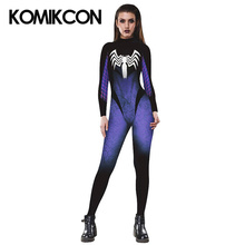Venom Spider Women Cosplay Costume Superhero Sexy Printed Jumpsuit Halloween Party Bodysuit For Girls
