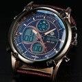 2016 новый двойной дисплей мужские часы ретро из светодиодов цифровые часы мужчины мода сыроустойчивых дизайн кварцевые часы роскошные спортивные часы человек