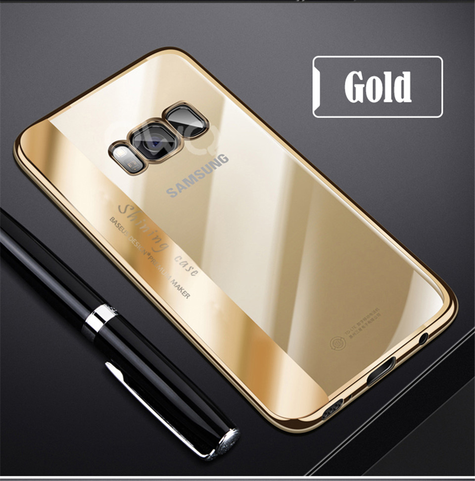 Plating Samsung Galaxy S8 S9 Plus Cover Soft Silicon Transparent Phone Cases For Galaxy S7 Edge Note 8 TPU Cover